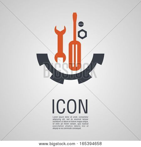 Vector Icons In The Form Of Wrench And Screwdriver With Nuts Bolts.