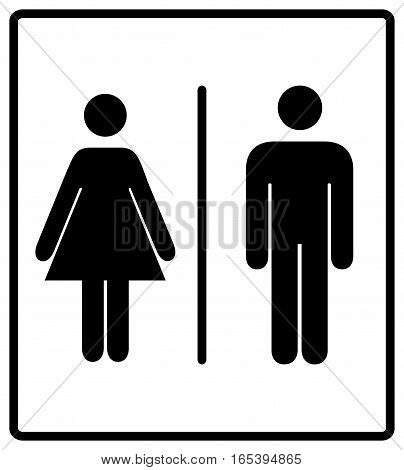 vector illustration of mens and womens restroom sign, toilette symbols. Vector symbols for public places, banner isolated on white, black silhouette