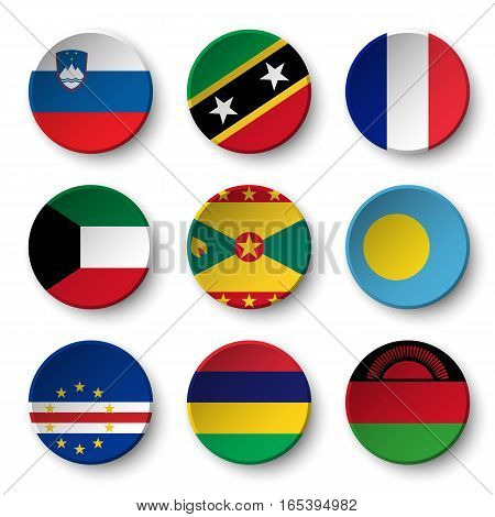 Set of world flags round badges ( Slovenia . Saint Kitts and Nevis . France . Kuwait . Grenada . Palau . Cape Verde . Mauritius . Malawi )