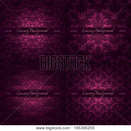 Set of four luxury backgrounds for festive flyer or holiday packages with abstract hand drawn pattern. Vector illustration