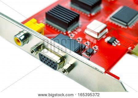 DVR motherboard closeup on the white background