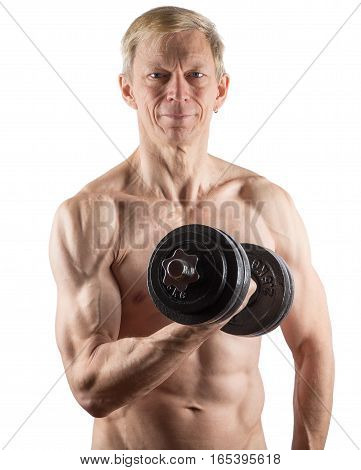 Man With Naked Torso Doing Exercise For Biceps On White
