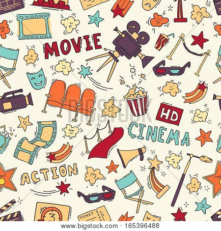 Cinema colorful seamless pattern with hand drawn elements. Background with clapperboard, camera, chairs, awards, film strip, popcorn ticket and others. Vector illustration