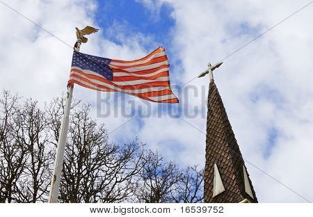 American flag and old church steeple reflect separation of church and state