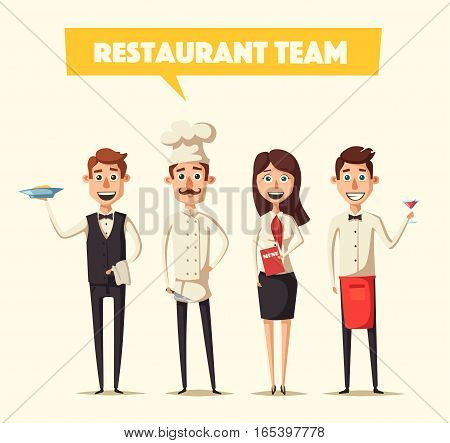 Restaurant team. Cartoon vector illustration. Chef, bartender, manager and waiter. Crew of professionals