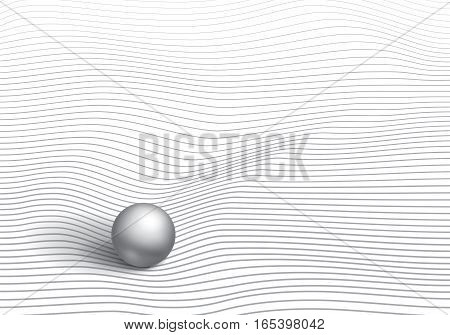 Volumetric gray ball on striped and mint surface, wave lines, minimalistic vector abstraction
