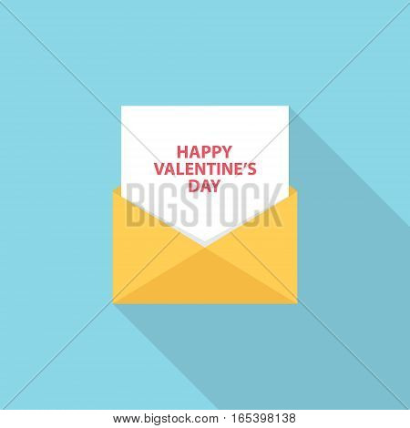 Happy Valentine's Day letter, email or message. Flat style vector Illustration.