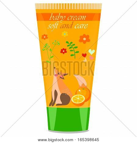 High quality original trendy vector orange Baby cream tube with kids design and fox on floral background illustration