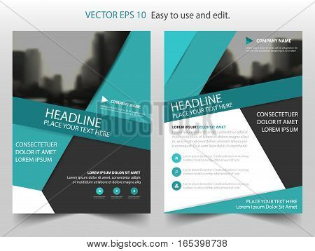 Green black abstract triangle annual report Brochure design template vector. Business Flyers infographic magazine poster.Abstract layout template Book Cover presentation portfolio.
