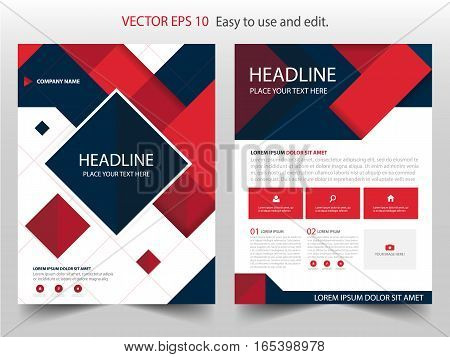 Red black abstract square annual report Brochure design template vector. Business Flyers infographic magazine poster.Abstract layout template Book Cover presentation portfolio.