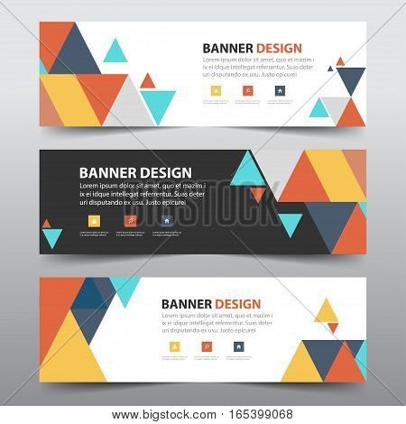 Colorful abstract triangle corporate business banner template horizontal advertising business banner layout template flat design set clean abstract cover header background for website design