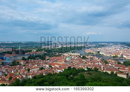 Aerial View Of Prague From Petrin Tower