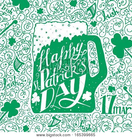 St. Patricks Day greeting. Lettering St. Patricks Day. Vector illustration in green color. Mug of beer, shamrock, date