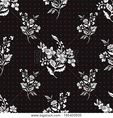 Abstract flowers seamless pattern, floral vector background. Fantasy white flowers on black background and red polka dot. For the design of the fabric, wallpaper, wrapper, prints, decoration