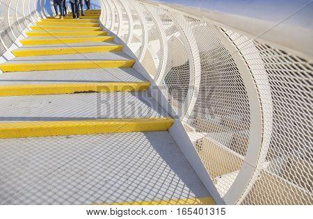 Seville Spain - January 2 2017: Roof footbridge for pedestrians at Metropol Parasol Seville Spain