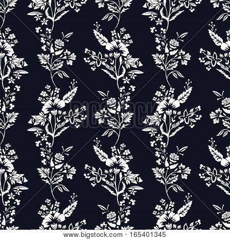 Abstract flowers seamless pattern, floral monochrome vector background. Fantasy white flowers on a dark blue backdrop. For the design of the fabric, wallpaper, wrapper, prints, decoration