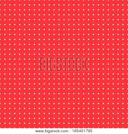 Polka dot background, vector seamless pattern. The white circles on a red backdrop. For the design of the fabric, wallpaper, wrapper, prints