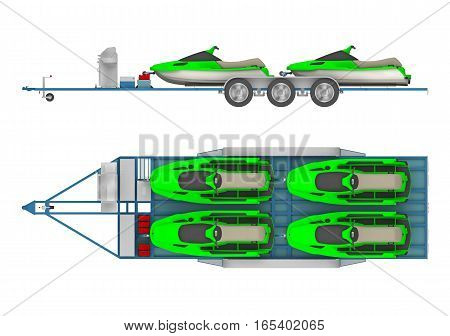 trailer with group Jet Ski. 3d rendering