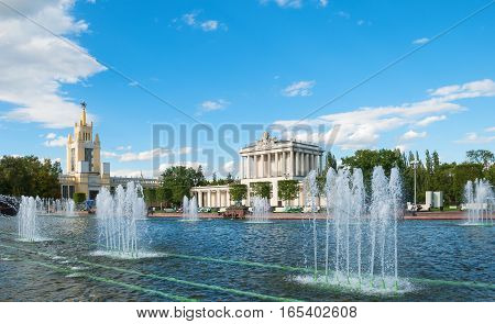 Exhibition of Economic Achievements (VDNKh) - Exhibition Center in Moscow. It was opened in 1939. ENEA territory rich in various architectural monuments, many of which are known throughout world. Russia, Moscow. August 16, 2016