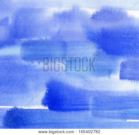 Abstract bright blue watercolor background for design