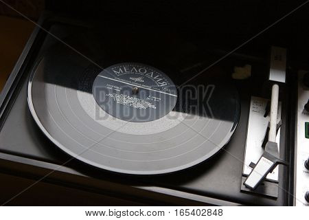 Druskininkai Lithuania - August 1 2006: Vinyl record with the speech of Vladimir Lenin from 1919-1920. Lenin was a Russian communist revolutionary politician and political theorist.