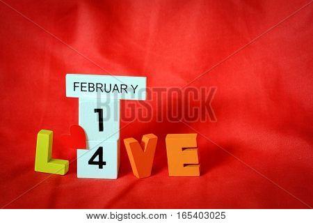 love alphabet with red heart valentine concept