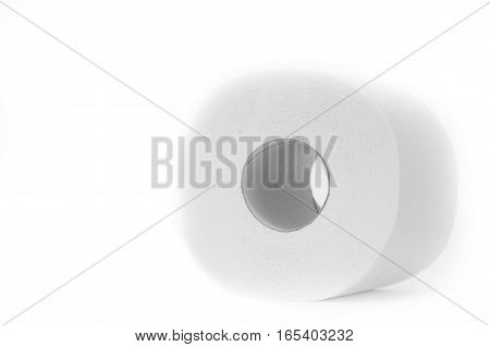 Whole roll of toilet paper isolated on white