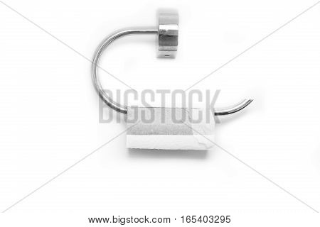 Empty roll of toilet paper isolated on white
