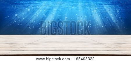 Panorama Wooden Tabletop With Deep Sea Underwater Ocean With Water Bubbles Glitter Effect For Montag