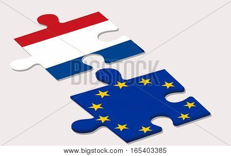 a view of two piece of puzzle representing holland and european union during elections (nexit)
