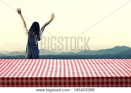 Fabric Tabletop With Beauty Woman Relax In Vintage Nature Outdoor Mountain And Sky Background For Pr
