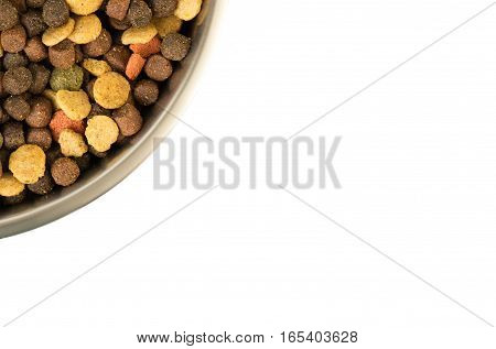 Doggy Bowl With Meat Feed Isolated On White  Copy Space