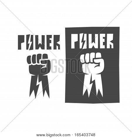 Fist raised up, icon , black illustration logo