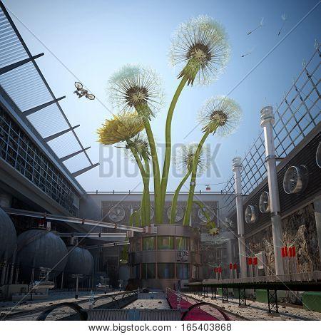 cg art Industry growing dandelions 3d rendering