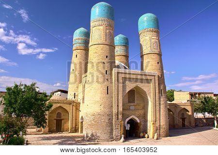 BUKHARA, UZBEKISTAN: The Char Minor mosque with beautiful architecture