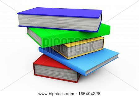 Stack os colorful books isolated on white 3d render