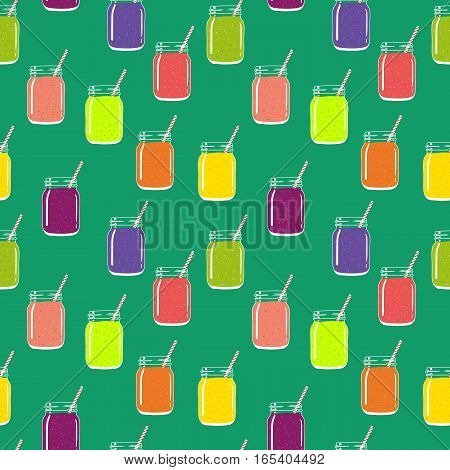 Seamless pattern with colorful smoothies in mason jars with striped straws. Fresh natural healthy fruit and berry drinks.Vector seamless pattern for backgrounds, packaging, textile and other designs.