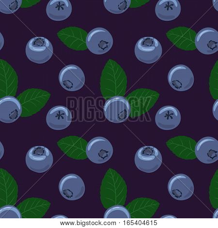 Blueberry vector seamless pattern. Natural fresh ripe tasty blueberries with green leaves. Seamless background. Vector illustration, eps. For backgrounds, packaging, textile and various other designs.