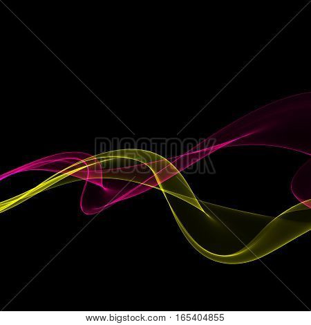 Abstract bright color fume shapes on black background