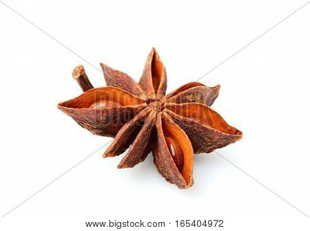 Star anise isolated close-up on white background.