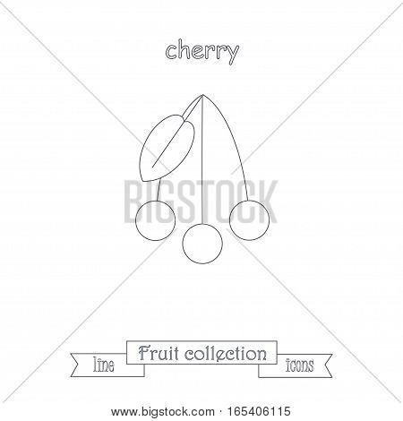 Line cherry icon, fruit icon collection stock vector illustration