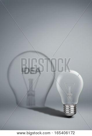 Bulb with shadow idea , creative concep