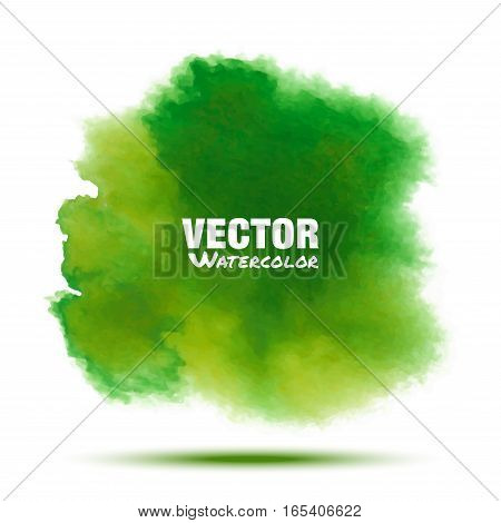 Bright green spring transparent watercolor vector stain. Vibrant watercolor vector spot design element isolated on white background. Spring blur blot green watercolor vector illustration