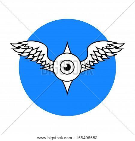 Winged Eyeball logo, isolated vector illustration art