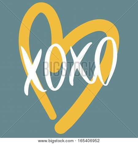 Romantic decorative poster with handdrawn lettering. Modern ink calligraphy. Handwritten white phrase XOXO and yellow heart on blue. Trendy vector design for Valentines Day or wedding