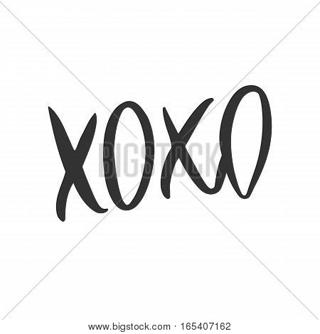 Romantic decorative poster with handdrawn lettering. Modern ink calligraphy. Handwritten black phrase XOXO isolated on white background. Trendy vector design for Valentine Day or wedding