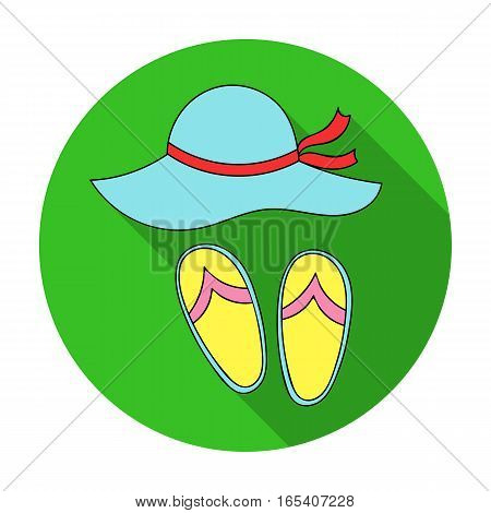 Beach hat with flip-flops icon in flat design isolated on white background. Family holiday symbol stock vector illustration.