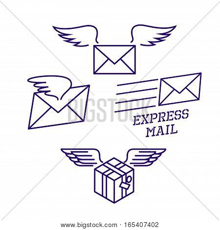 Fast delivery service. vector illustration. Parcel with wings flies