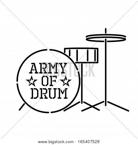 army of drum, vector outline stensil illustration