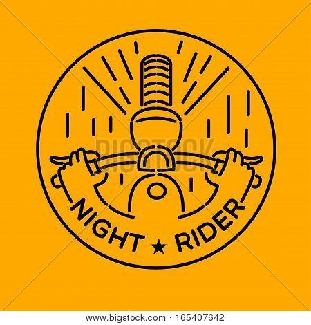 night rider, vector graphic illustration badge design logo art. isolated on yellow background.